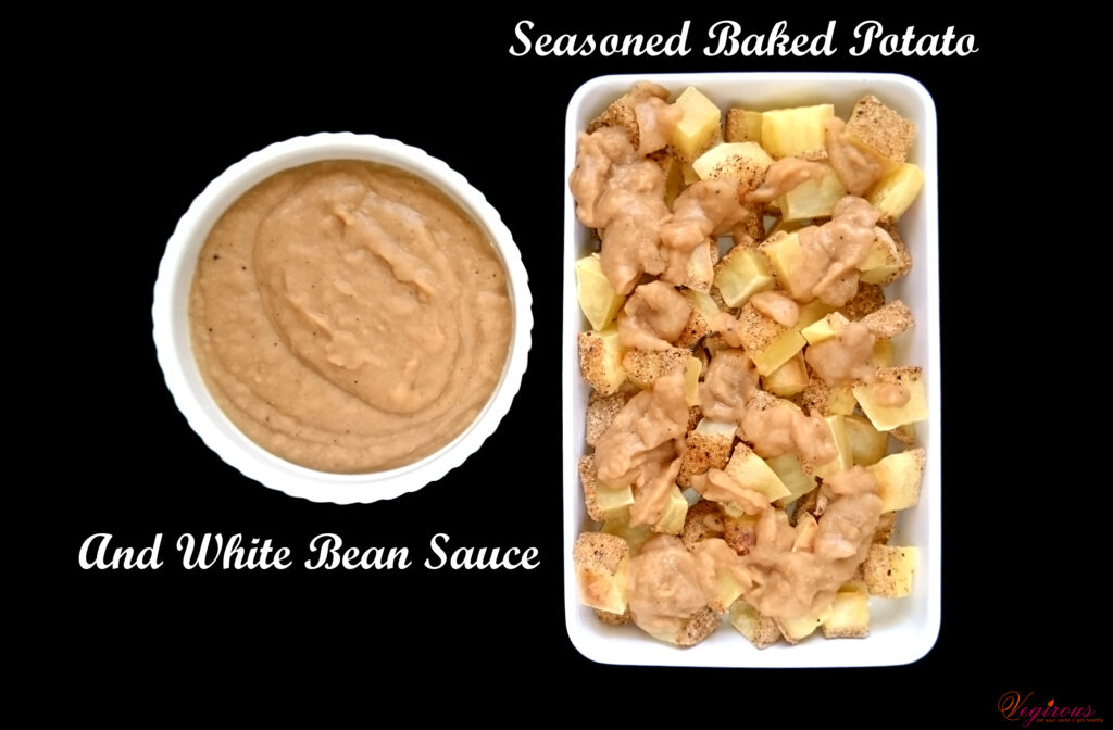 Seasoned Baked Potato and White Bean Sauce