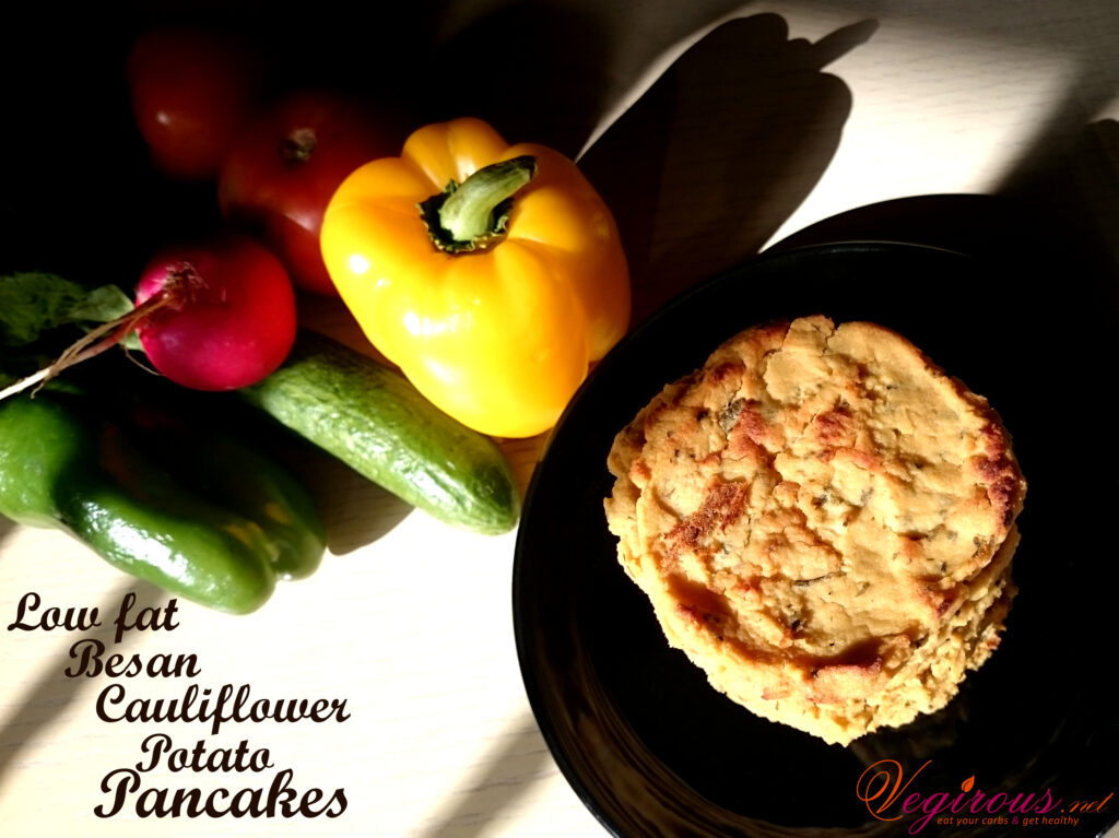 Vegan Low fat besan cauliflower potato pancakes
