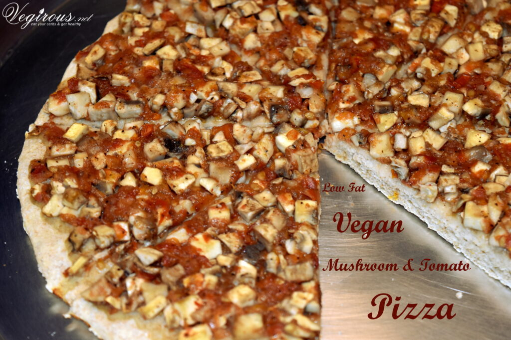 Low Fat Vegan Mushroom Tomato Pizza